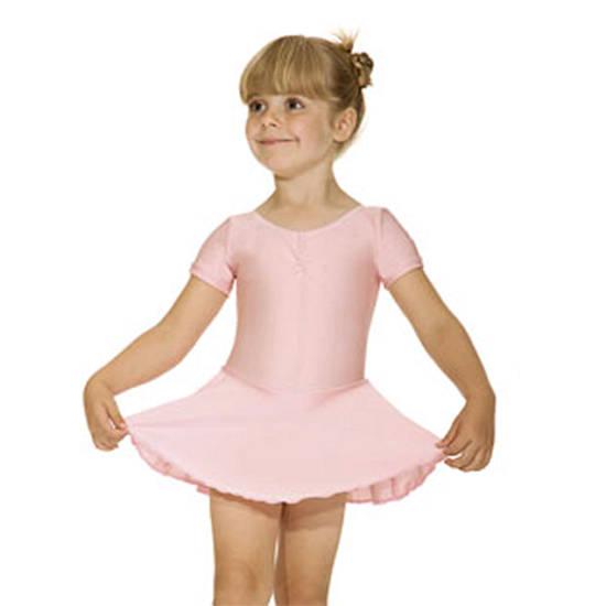 Short Sleeve Leotard With Skirt Pink Leotard Dance